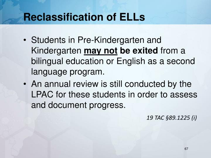 Reclassification of ELLs