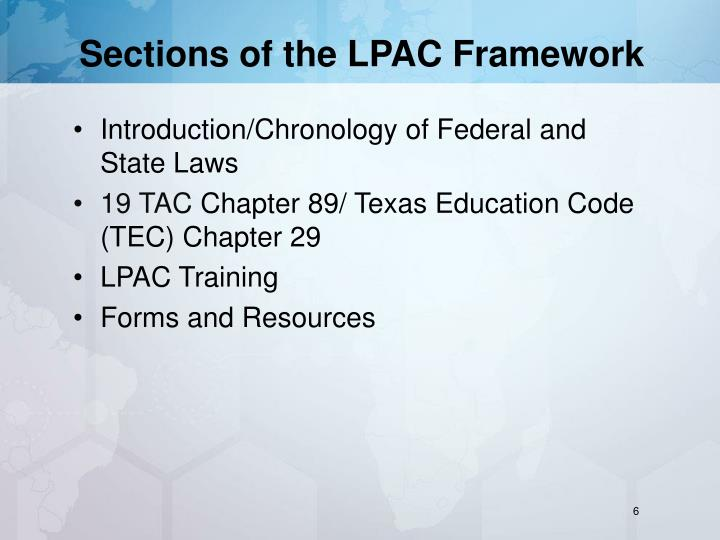 Sections of the lpac framework