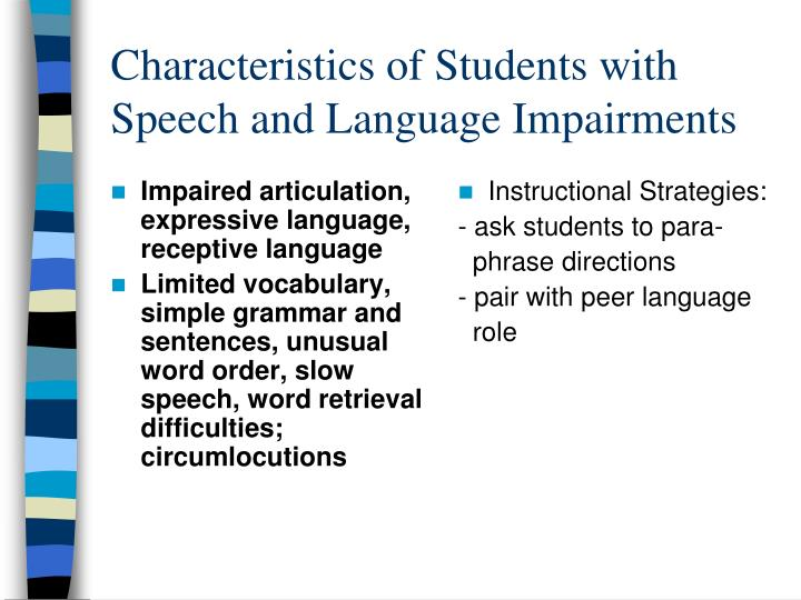 Impaired articulation, expressive language, receptive