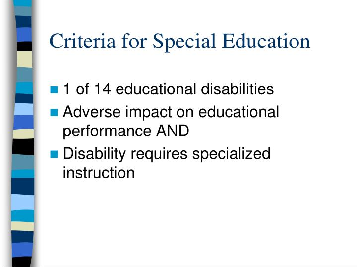 Criteria for Special Education