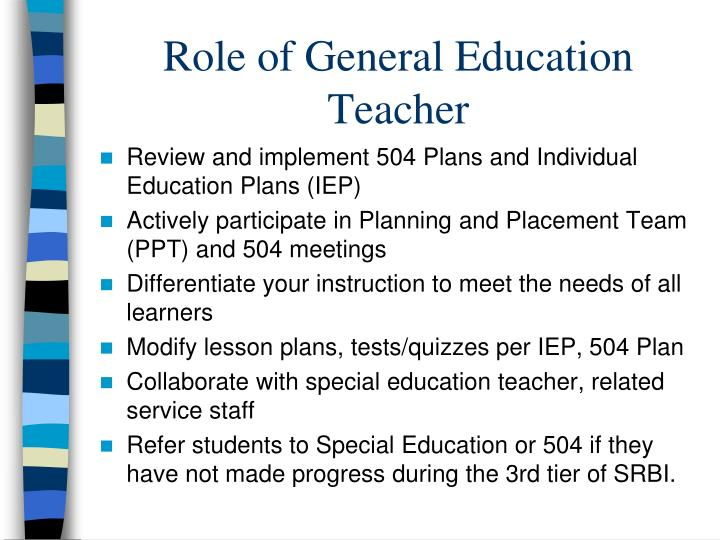 Role of General Education Teacher