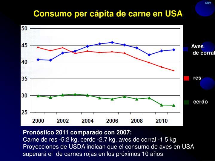 Consumo per cápita de carne en USA