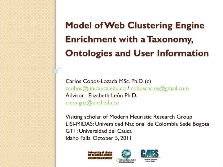 Model of web clustering engine enrichment with a taxonomy ontologies and user information