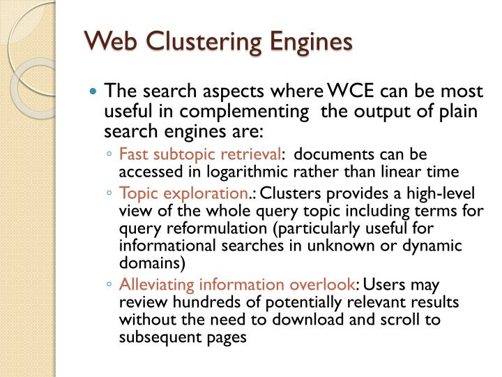 Web Clustering Engines