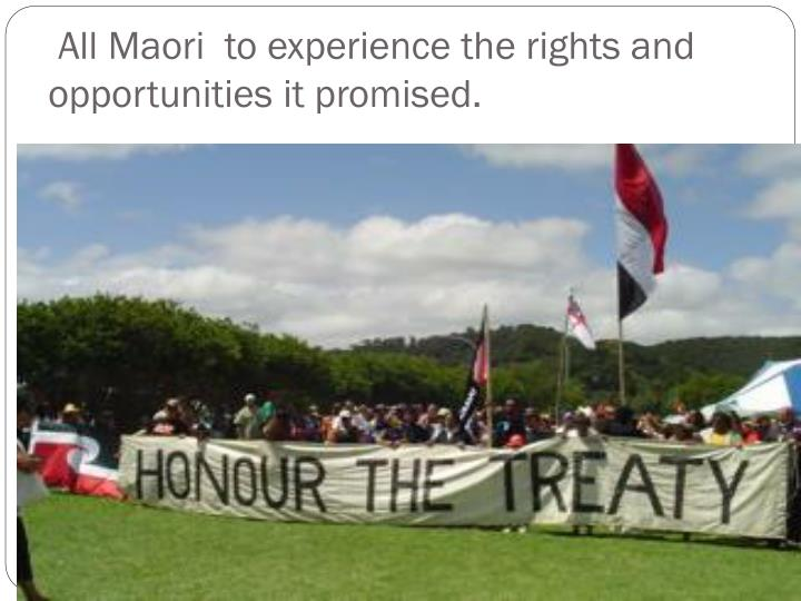 All Maori  to experience the rights and opportunities it promised.