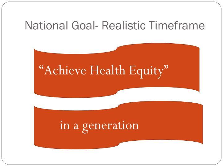 National Goal- Realistic Timeframe