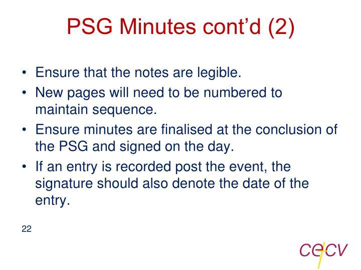 PSG Minutes cont'd (2)