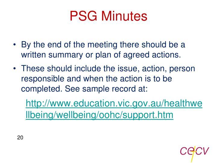 PSG Minutes