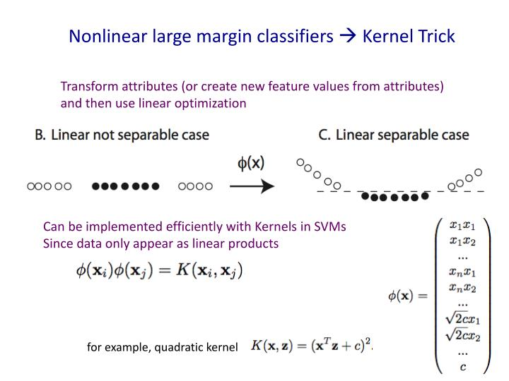 Nonlinear large margin classifiers