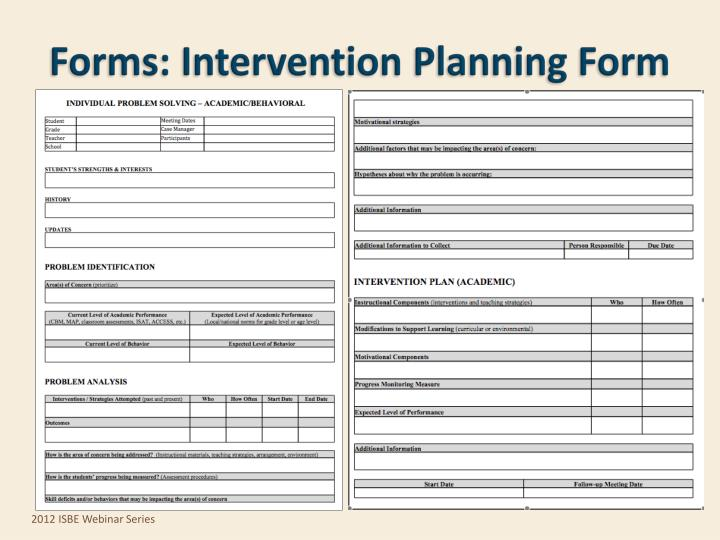 Forms: Intervention Planning Form
