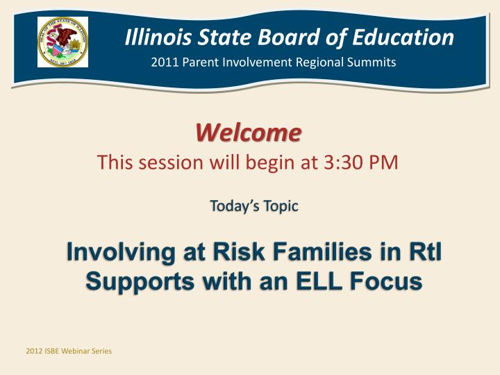 Today s topic involving at risk families in rti supports with an ell focus