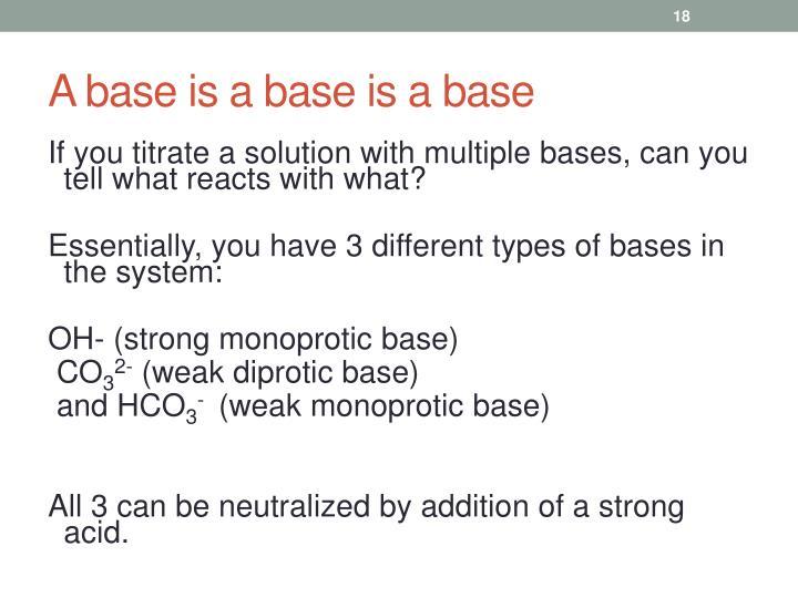 A base is a base is a base