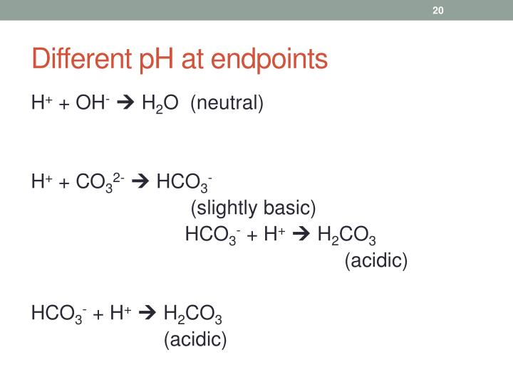 Different pH at endpoints