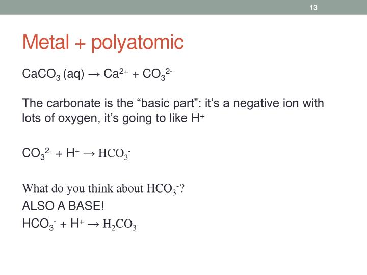Metal + polyatomic