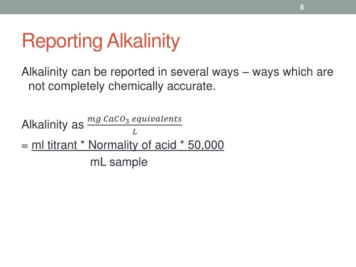 Reporting Alkalinity