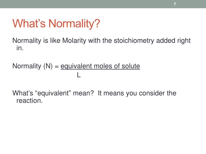 What's Normality?