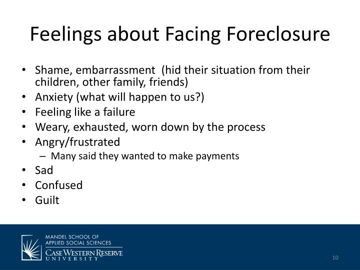 Feelings about Facing Foreclosure