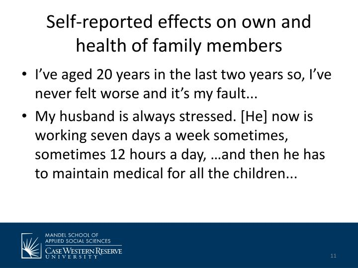 Self-reported effects on own and health of family members