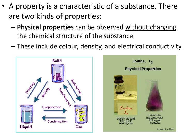 A property is a characteristic of a substance. There are two kinds of properties: