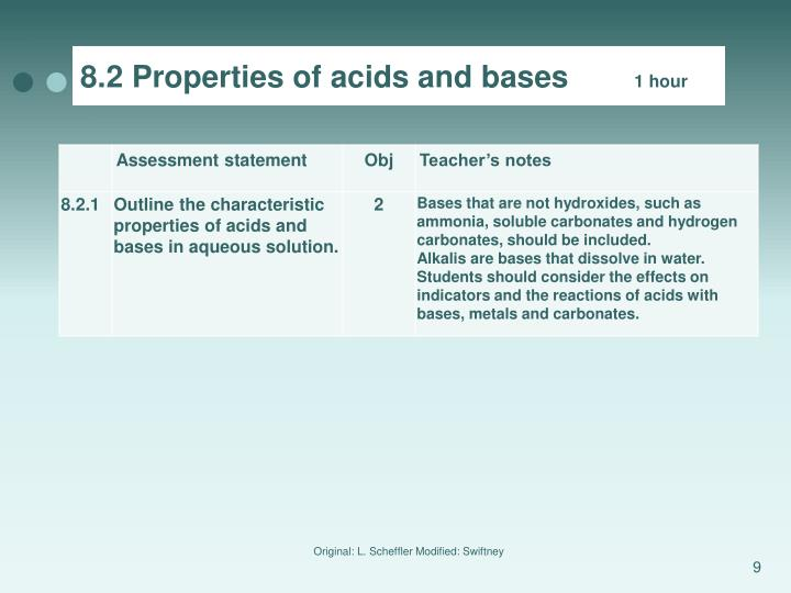 8.2 Properties of acids and bases
