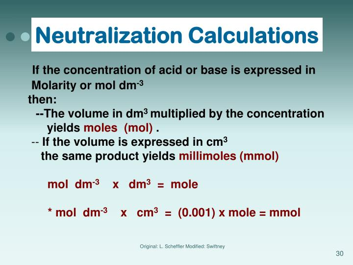 Neutralization Calculations