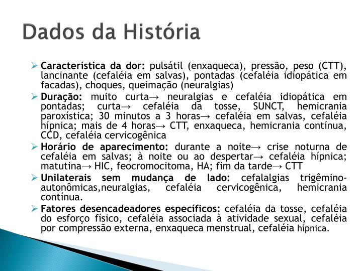 Dados da História