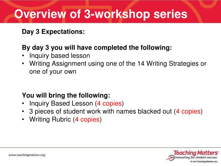 Overview of 3-workshop series