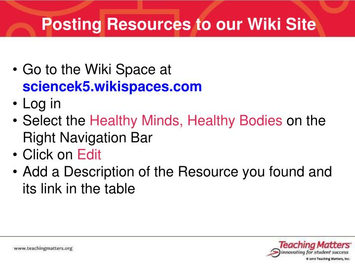Posting Resources to our Wiki Site