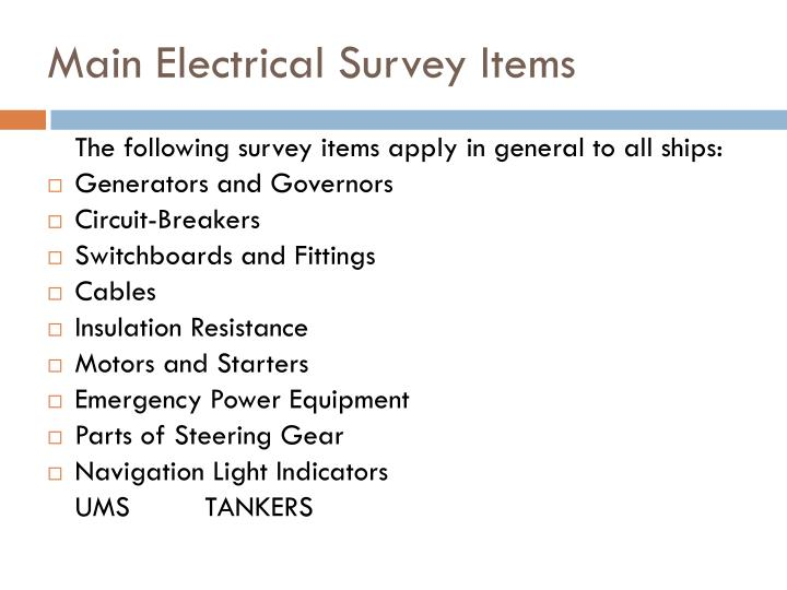 Main Electrical Survey Items