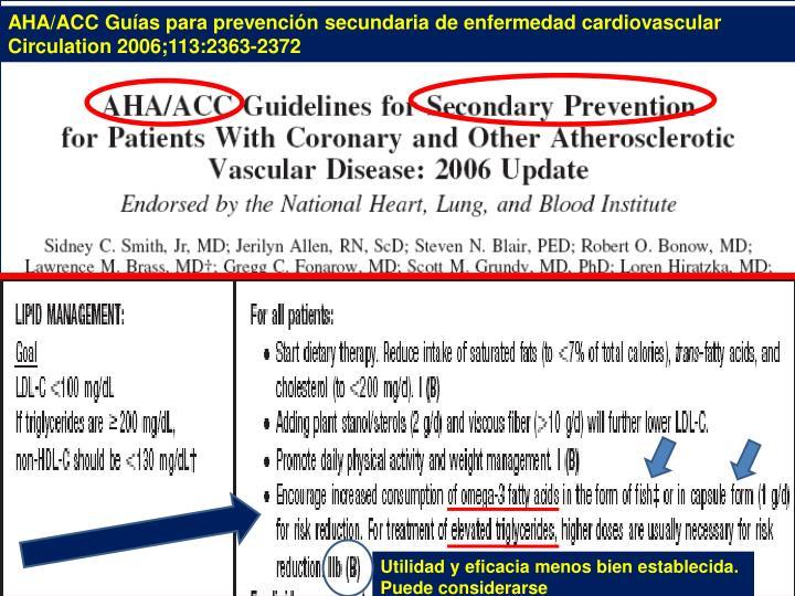 AHA/ACC Guías para prevención secundaria de enfermedad cardiovascular