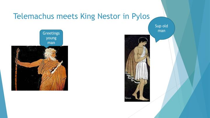 Telemachus meets King Nestor in