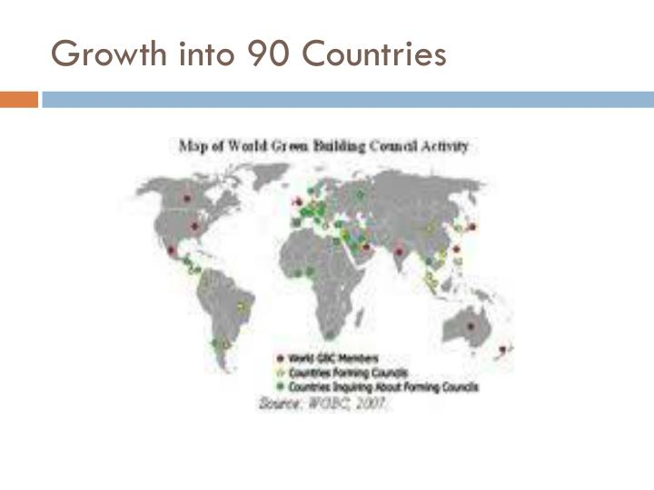 Growth into 90 Countries