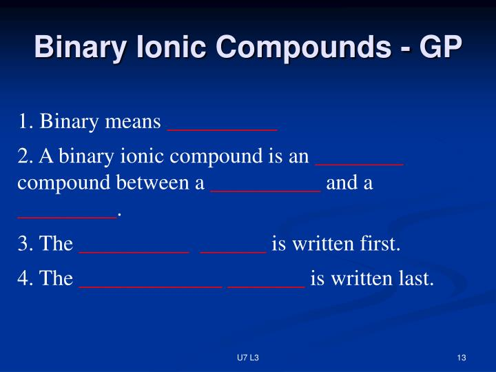 Binary Ionic Compounds - GP