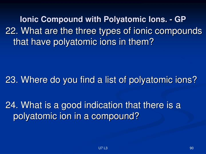 Ionic Compound with Polyatomic Ions. - GP
