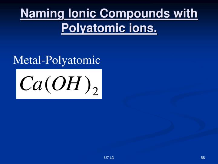 Naming Ionic Compounds with Polyatomic ions.