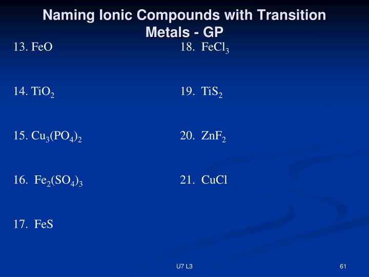 Naming Ionic Compounds with Transition Metals - GP