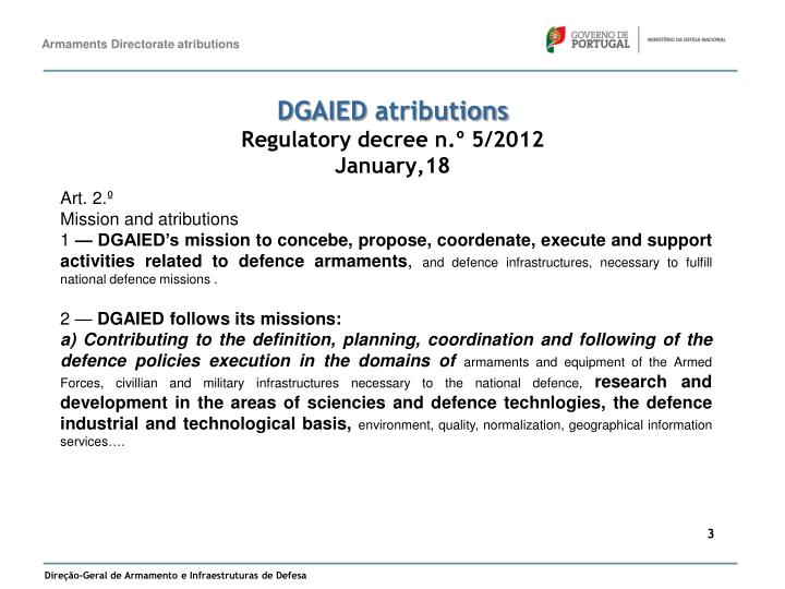 Dgaied atributions regulatory decree n 5 2012 january 18