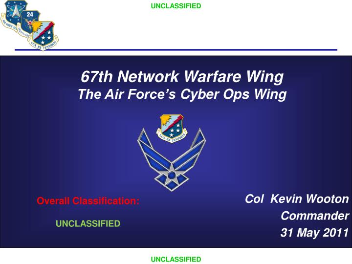 Col kevin wooton commander 31 may 2011