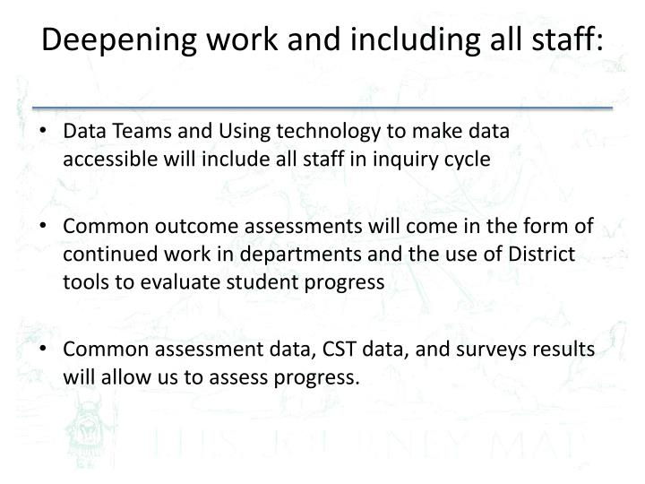 Deepening work and including all staff: