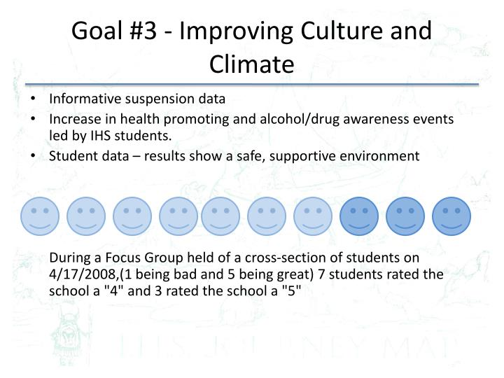 Goal #3 - Improving Culture and Climate