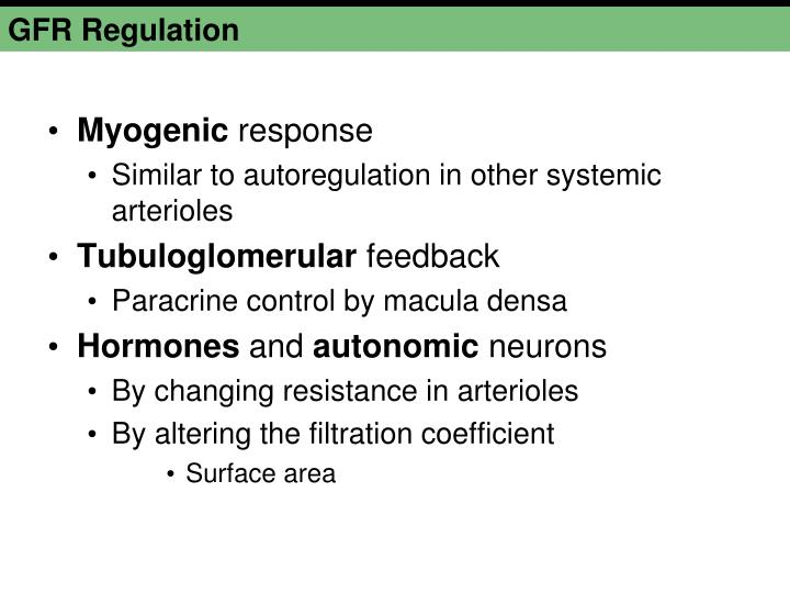 GFR Regulation