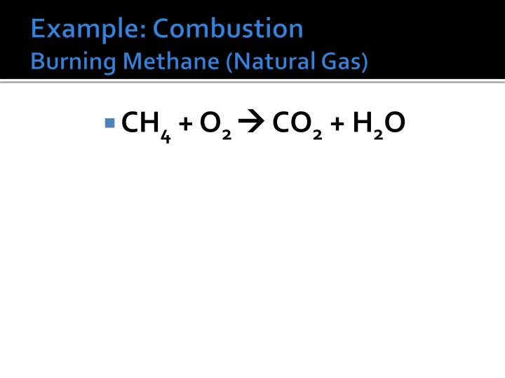 Natural Gas Combustion Reaction
