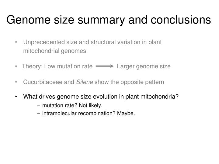 Genome size summary and conclusions