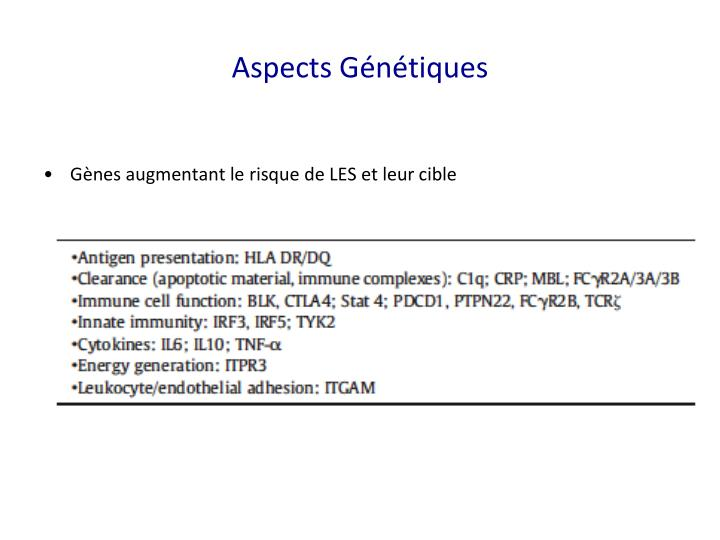 Aspects Génétiques