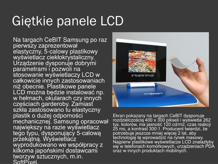 Giętkie panele LCD