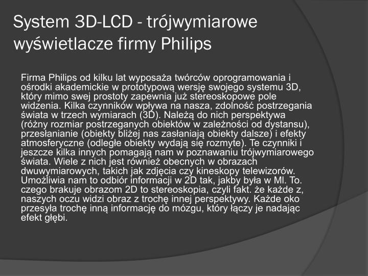System 3D-LCD - trójwymiarowe wyświetlacze firmy P