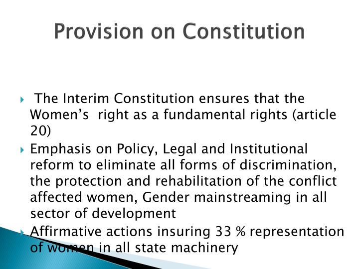 Provision on constitution