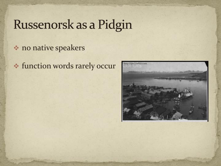 Russenorsk as a Pidgin