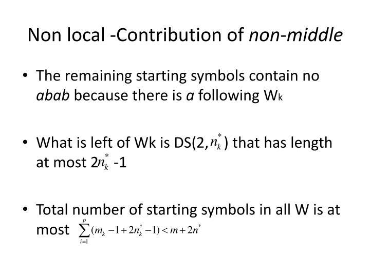 Non local -Contribution of