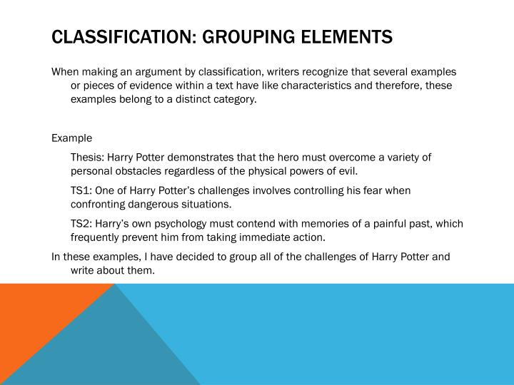 Classification: Grouping elements
